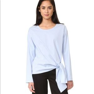 Theory Serah Stretch-cotton Tie-front Top Blue M
